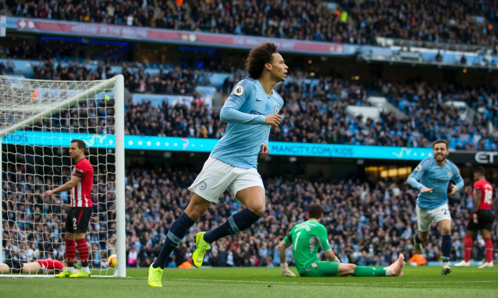Leroy Sané begins the celebrations after one of the six goals Manchester City scored against Southampton.