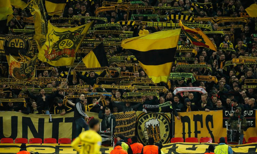 The seething yellow block of Borussia Dortmund fans at Wembley for their defeat by Tottenham.
