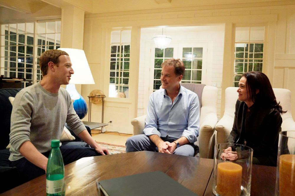 Clegg with Mark Zuckerberg and Sheryl Sandberg after joining Facebook