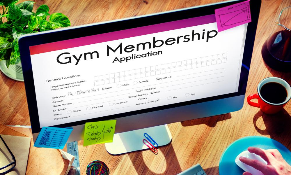 Applying for gym membership online.