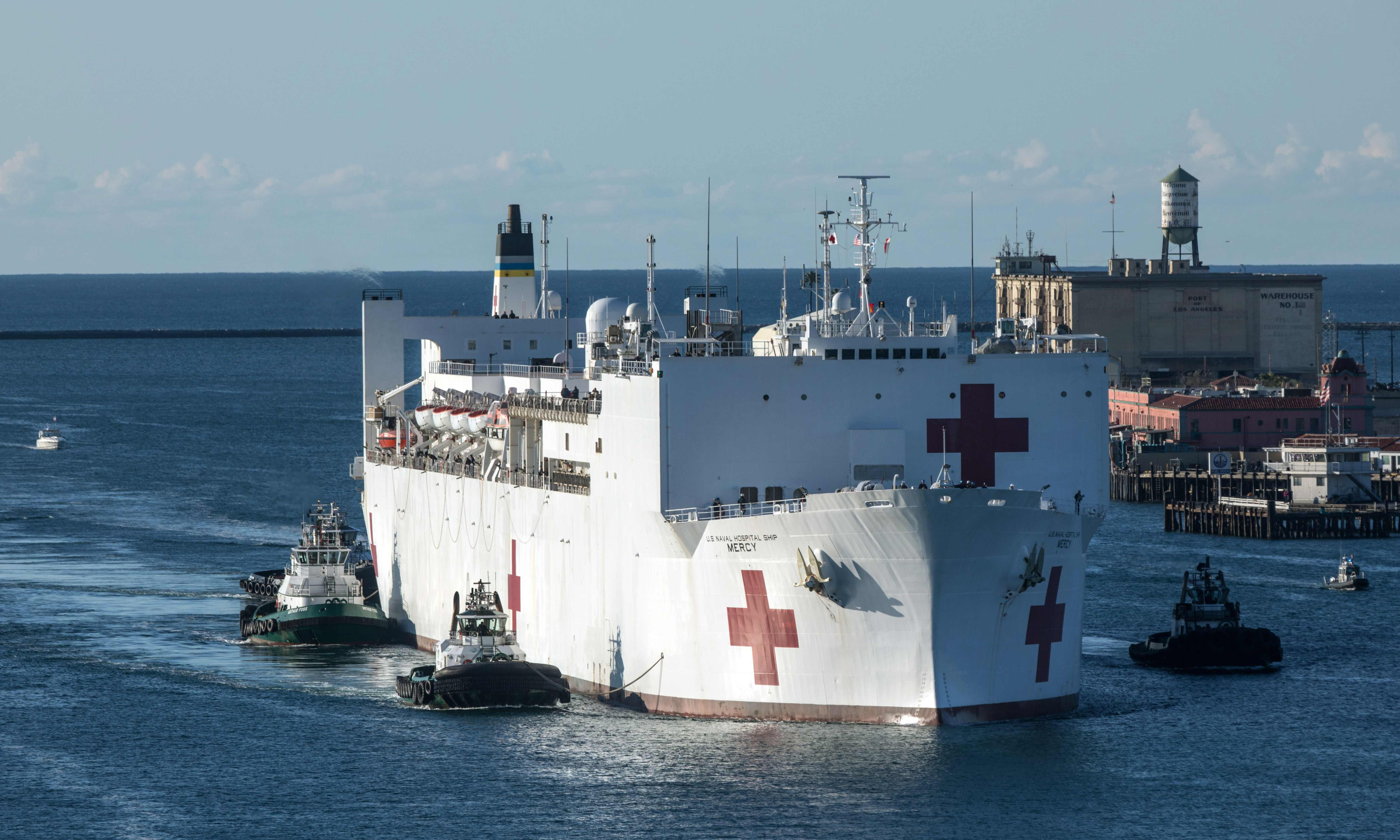 Hospital ship arrives in LA as California braces for crisis on par with New York