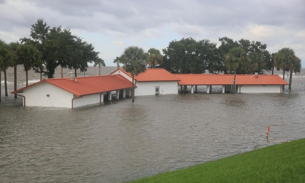 A pavilion is flooded in New Orleans, Louisiana.