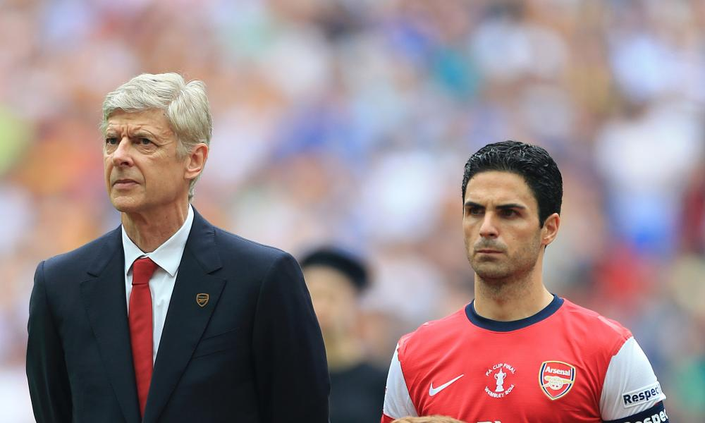 Arsène Wenger and Mikel Arteta before the 2014 final against Hull.