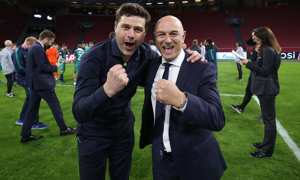 Pochettino and Levy enjoy the moment after Spurs' miraculous comeback in Amsterdam saw them defeat Ajax to reach the Champions League final.