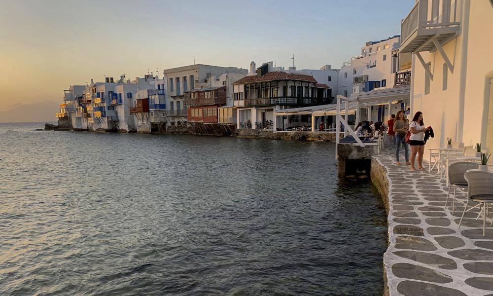 Visitors in an area known as Little Venice on the Greek island of Mykonos on 9 June, 2020. (Photo: AP Photo/Derek Gatopoulos)