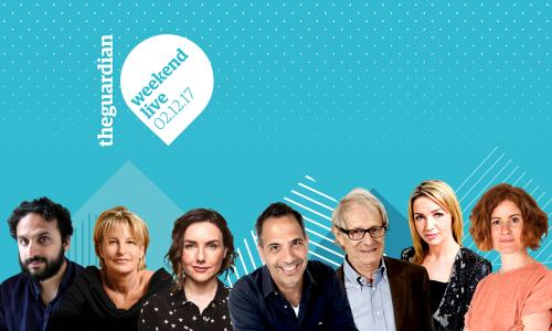 From left to right: Nish Kumar, Decca Aitkenhead, Sali Hughes, Yotam Ottolenghi, Ken Loach, Jess Cartner-Morley, and Alys Fowler will all be appearing at Guardian Weekend Live on Saturday 2 December
