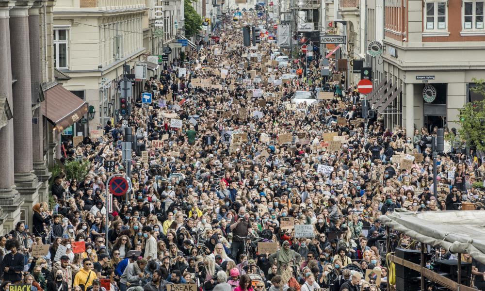 Demonstrators at the Black Lives Matter protest in Copenhagen.
