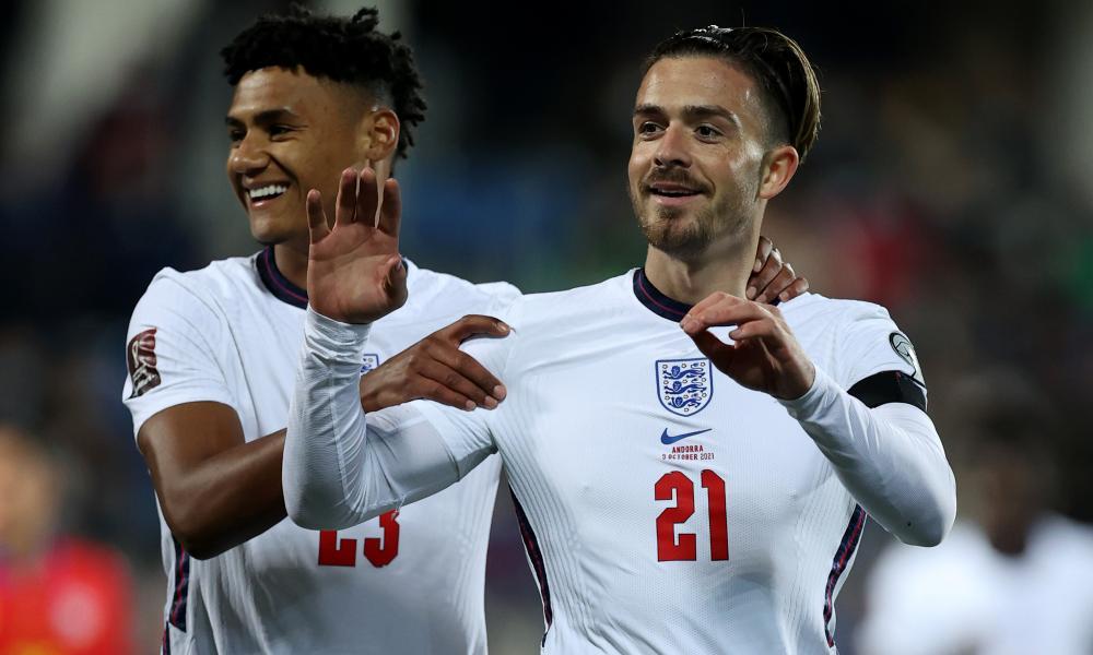 Jack Grealish celebrates scoring England's fifth.