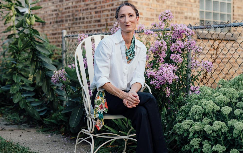 Amber Dawn in a garden