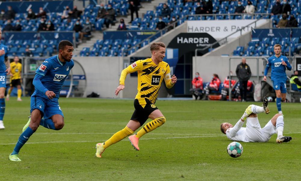 Marco Reus scores the winner for Dortmund at Hoffenheim.