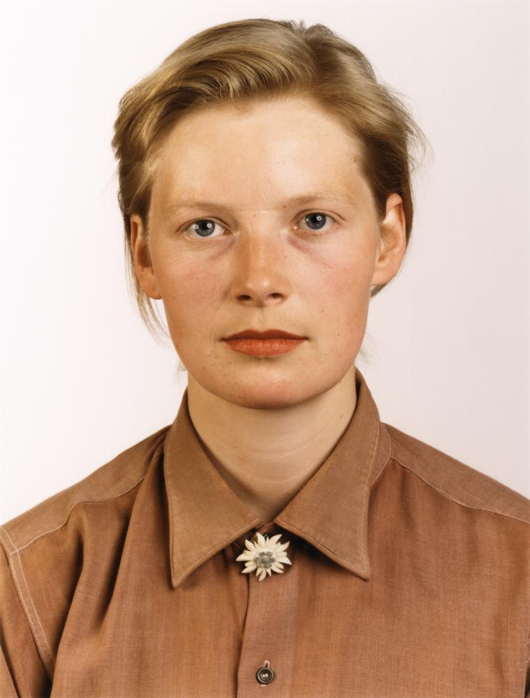 Porträt (P Stadtbäumer) 1988 C-print, by Thomas Ruff, at the Whitechapel Gallery until 21 January 2018.