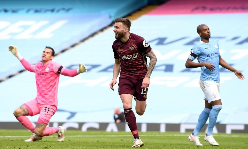 Stuart Dallas celebrates scoring during Leeds' win at Manchester City last season