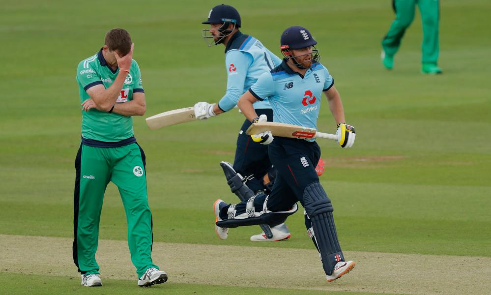 Dismay for Craig Young as Jonny Bairstow (right) gets more runs.