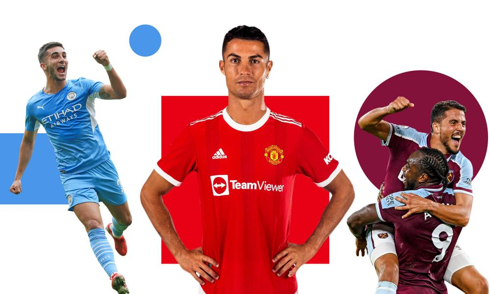 Ferran Torres, Cristiano Ronaldo and Pablo Fornals with Michail Antonio