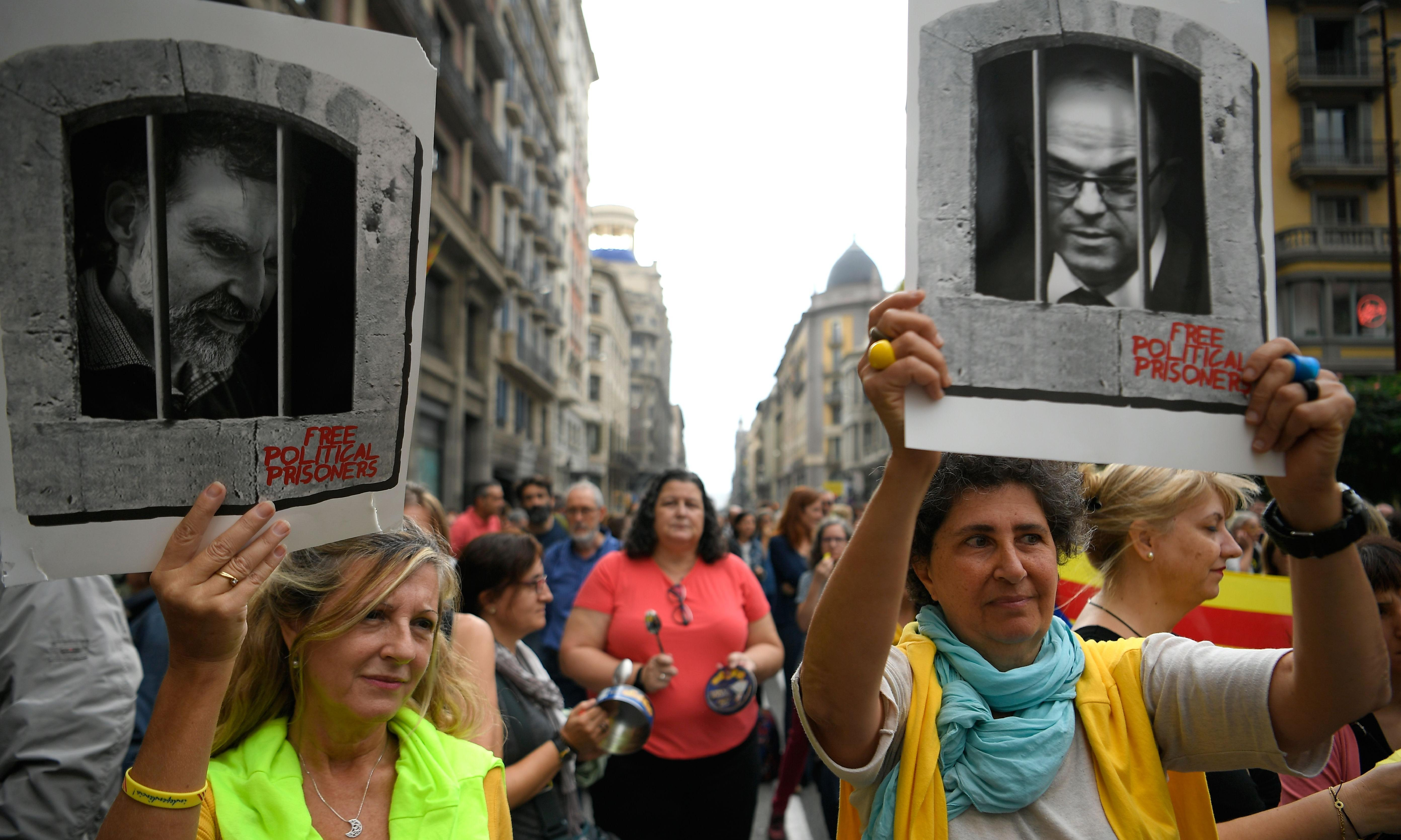 Catalans protest at 'harsh' sentencing of independence leaders