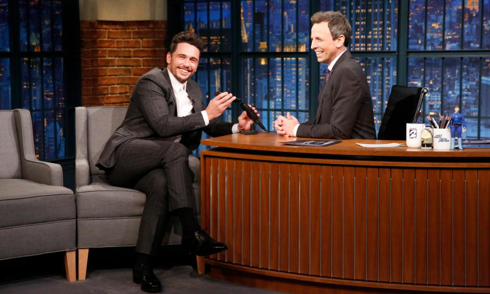 Actor James Franco talks with host Seth Meyers during an interview on 10 January 2018.