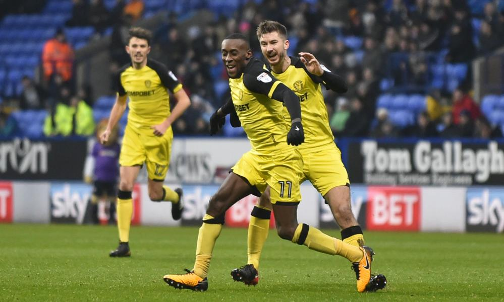 Lloyd Dyer celebrates scoring the only goal of the game at Bolton.