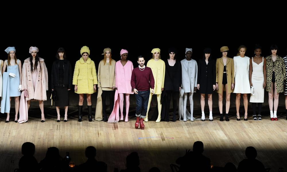 Marc Jacobs with the models during the finale.
