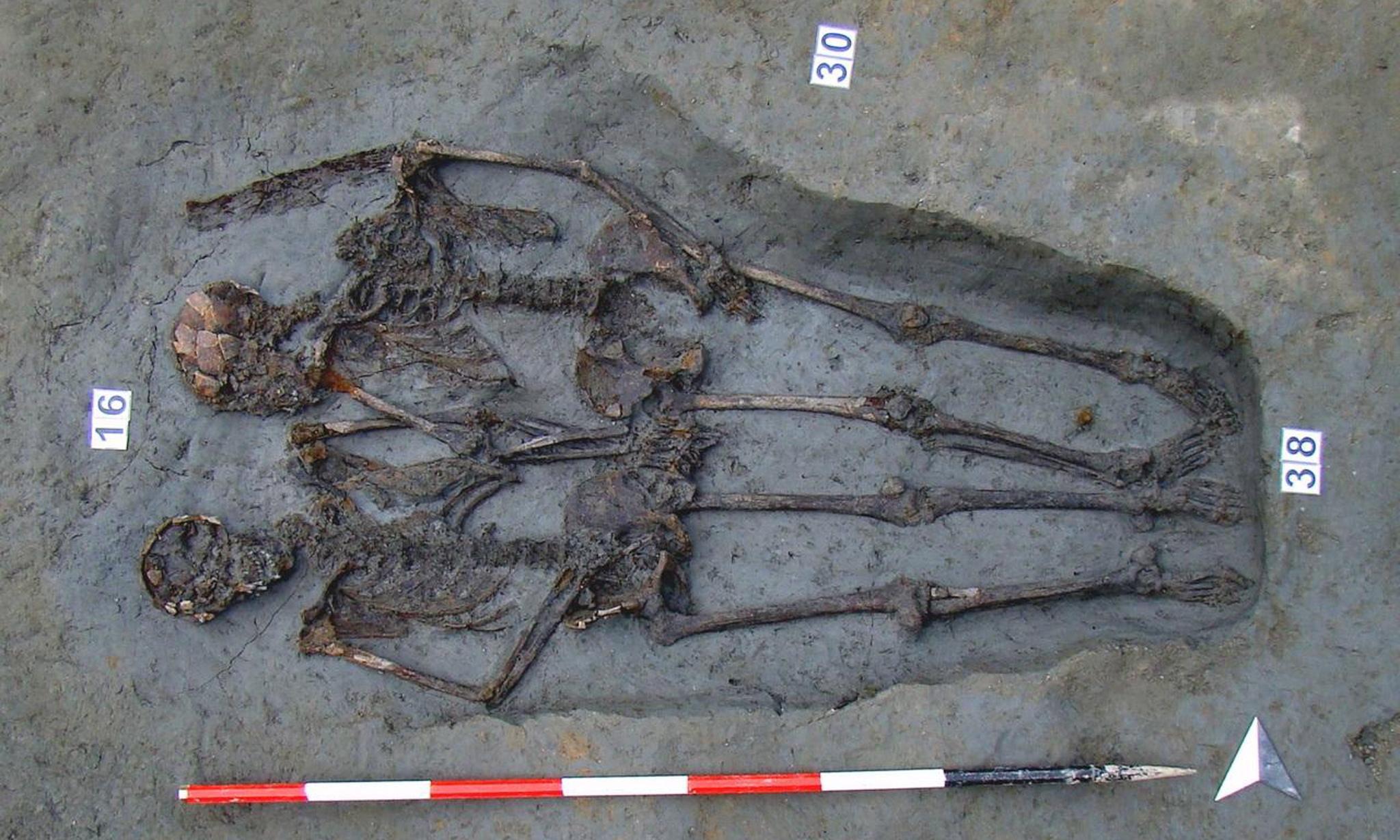 'Lovers of Modena' skeletons holding hands were both men