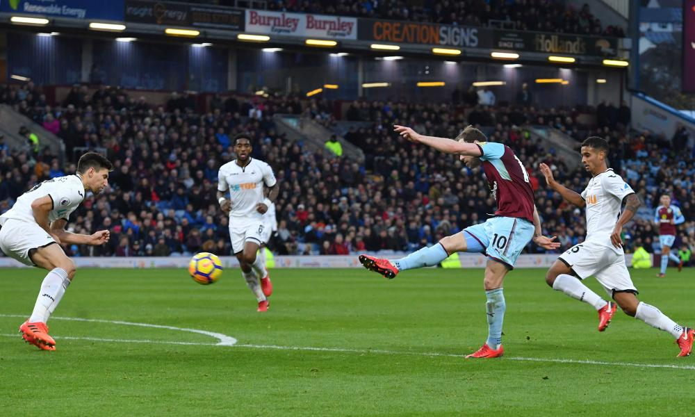 Ashley Barnes scores Burnley's second goal of the game during their win over Swansea