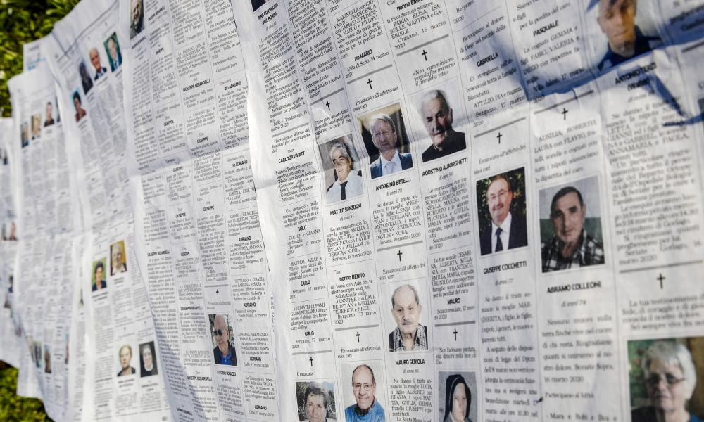 Local newspaper Eco di Bergamo features several pages of obituaries in its 17 March 17 2020 edition, in Mediglia, Italy.