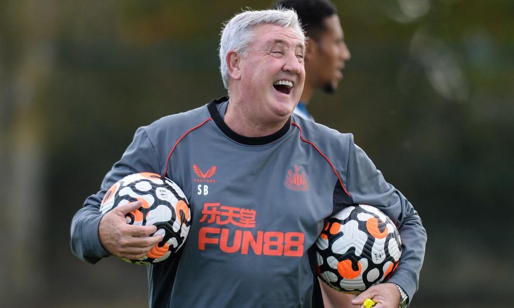 Steve Bruce enjoys a laugh in training on Thursday