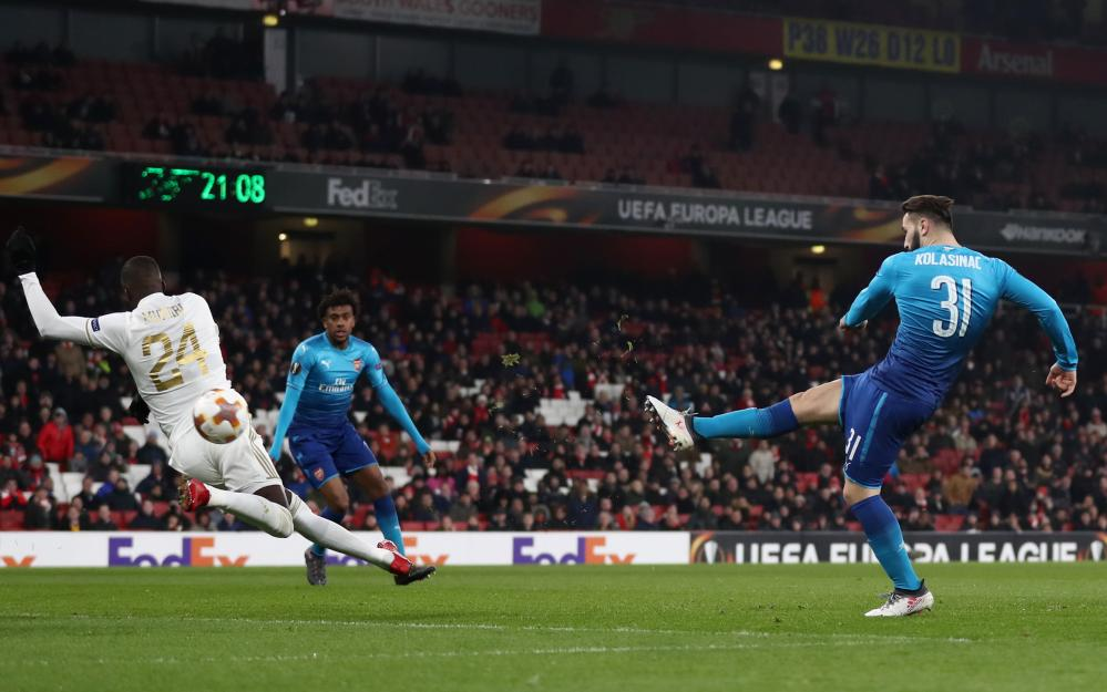 Sead Kolasinac scores to ease Arsenal's nerves.