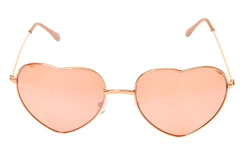 Rose gold heart sunglasses, £10, from Claire's.