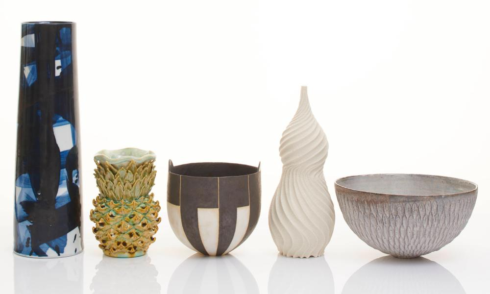 From left to right, ceramics by Felicity Aylieff, Kate Malone, John Ward, Annie Turner, Akiko Hirai donated to FiredUp4
