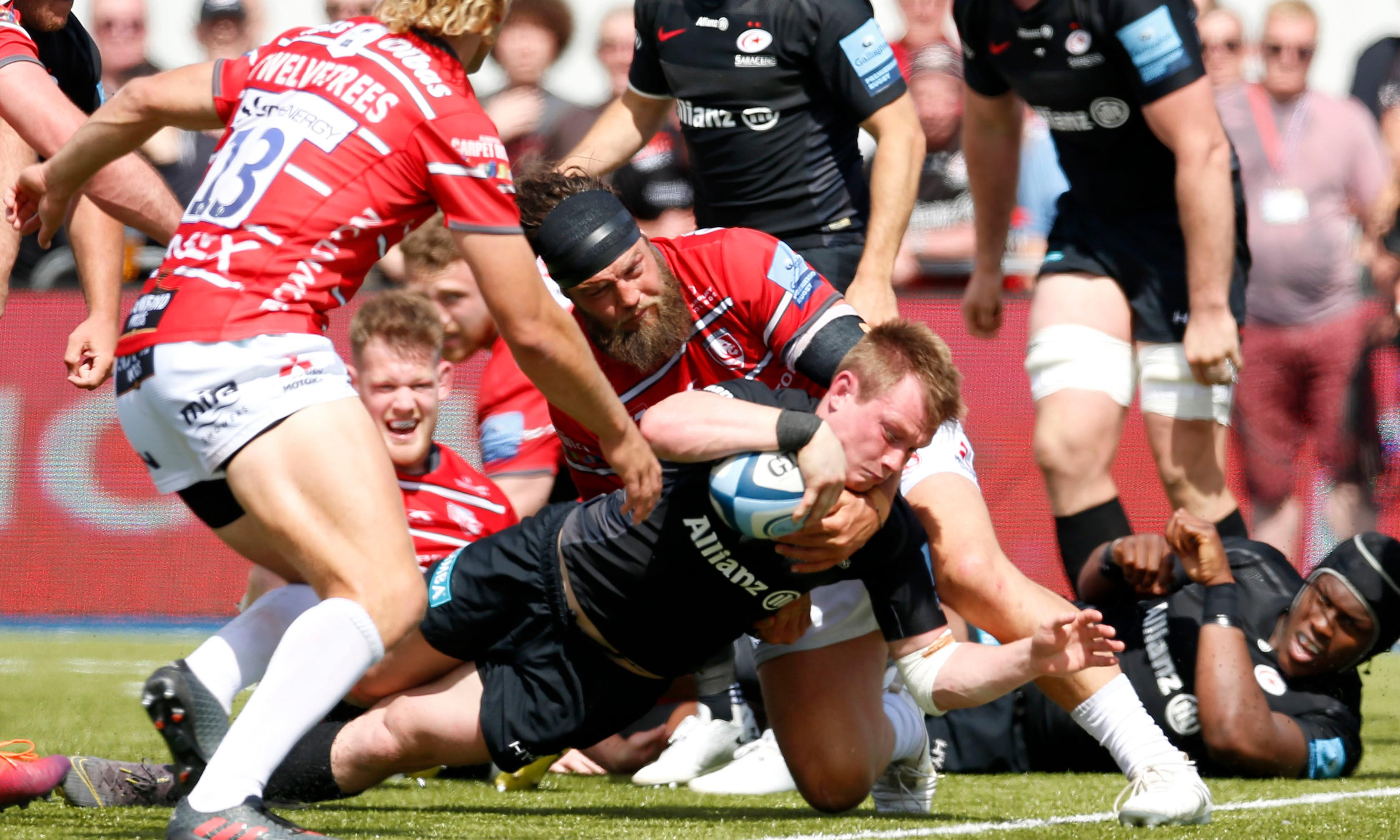 Nick Tompkins' hat-trick leads Saracens past Gloucester and into final