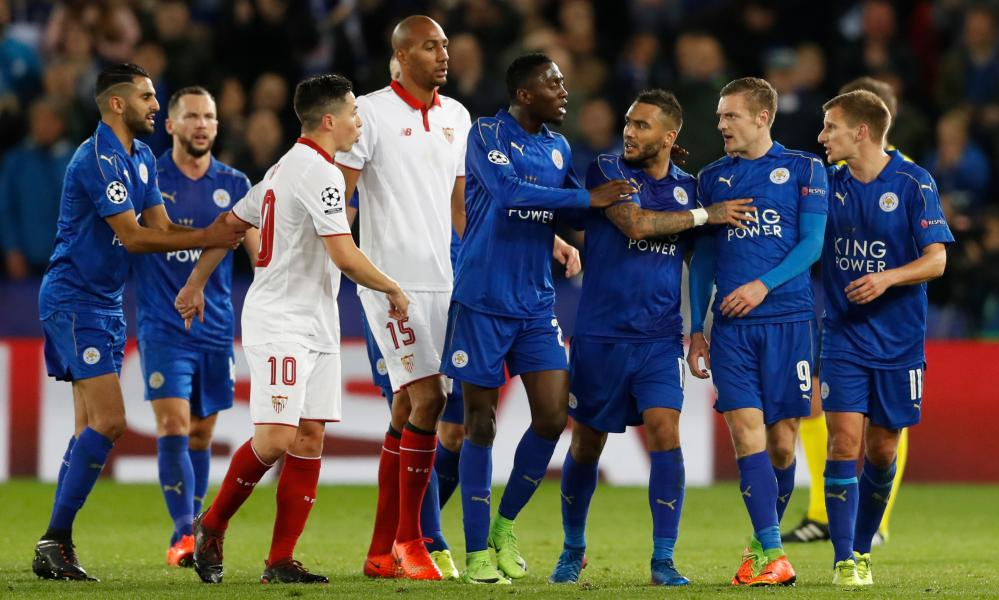 Sevilla's Samir Nasri clashes with Leicester City's Jamie Vardy after Nasri is sent off.