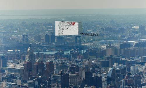 CJ Hendry's artwork flying over New York.