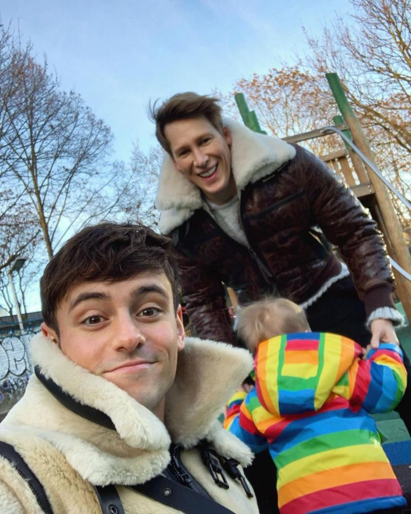 Tom Daley, Lance Black and their son, Robbie