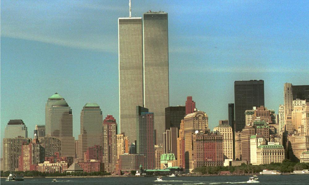 Lower Manhattan, a fortnight before the 9/11 attacks, with Minoru Yamasaki's twin towers.
