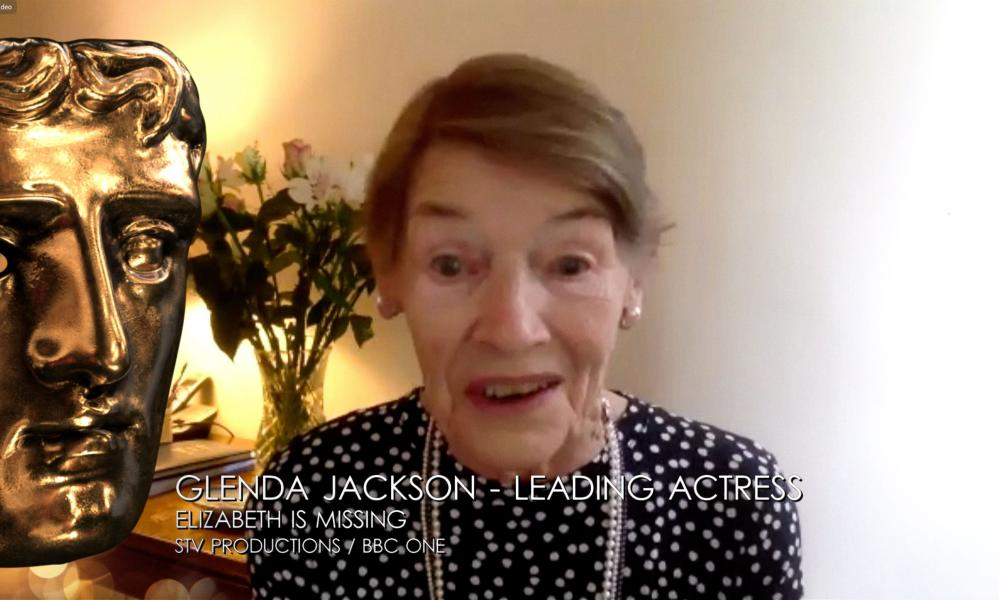 Glenda Jackson, 84, won in the lead actress category for her role in the BBC thriller Elizabeth Is Missing.