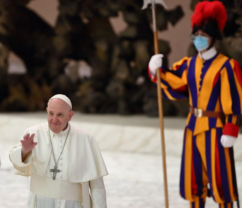Pope Francis' weekly general audience on 28 October. The pope has come under heavy criticism for infrequently wearing a face mask when out in public.