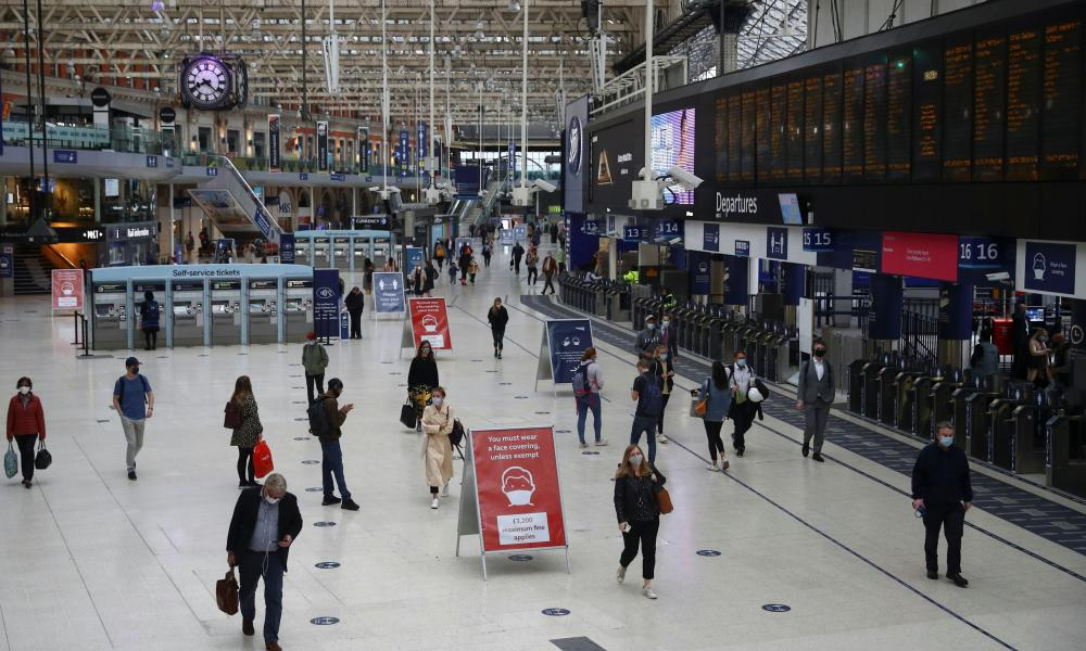 Waterloo station in London at rush hour this morning.