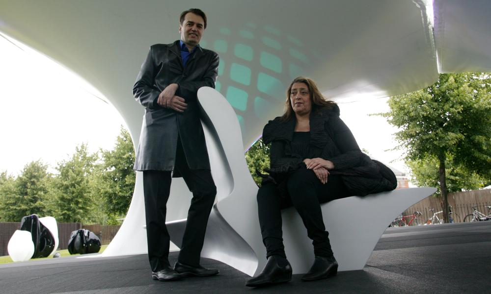 Schumacher and Hadid at a temporary art installation they created in Hyde Park, London, in 2007.