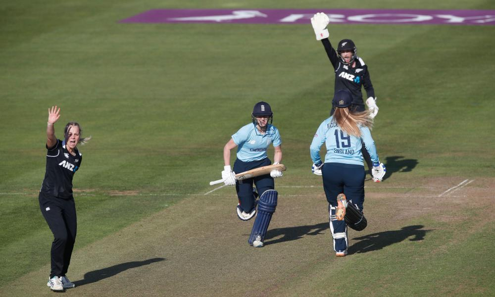 New Zealand's Jess Kerr appeals successfully for the lbw wicket of England's Charlotte Dean.