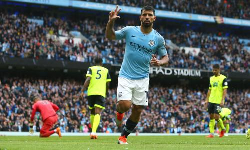 5ae2a098b4ddb Sergio Agüero hits hat-trick in Manchester City s rout of Huddersfield. by  Jamie Jackson at the Etihad Stadium 9 months ago