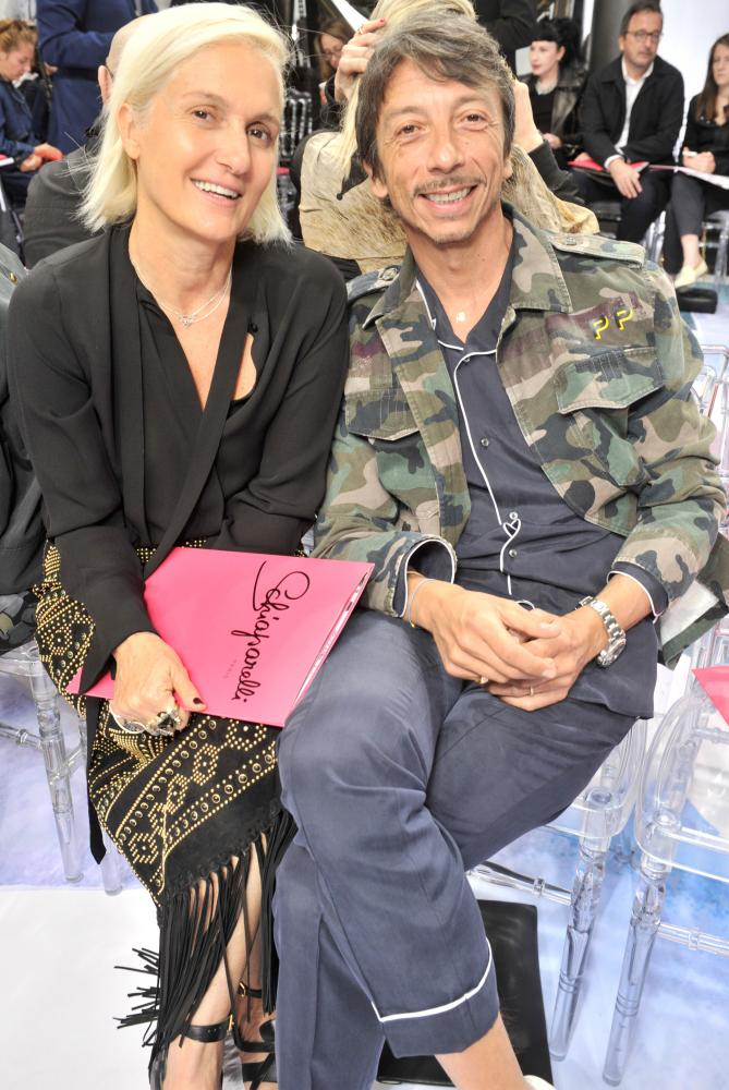 Maria Grazia Chiuri and Pierpaolo Picciolo at the Schiaparelli show during haute couture week.