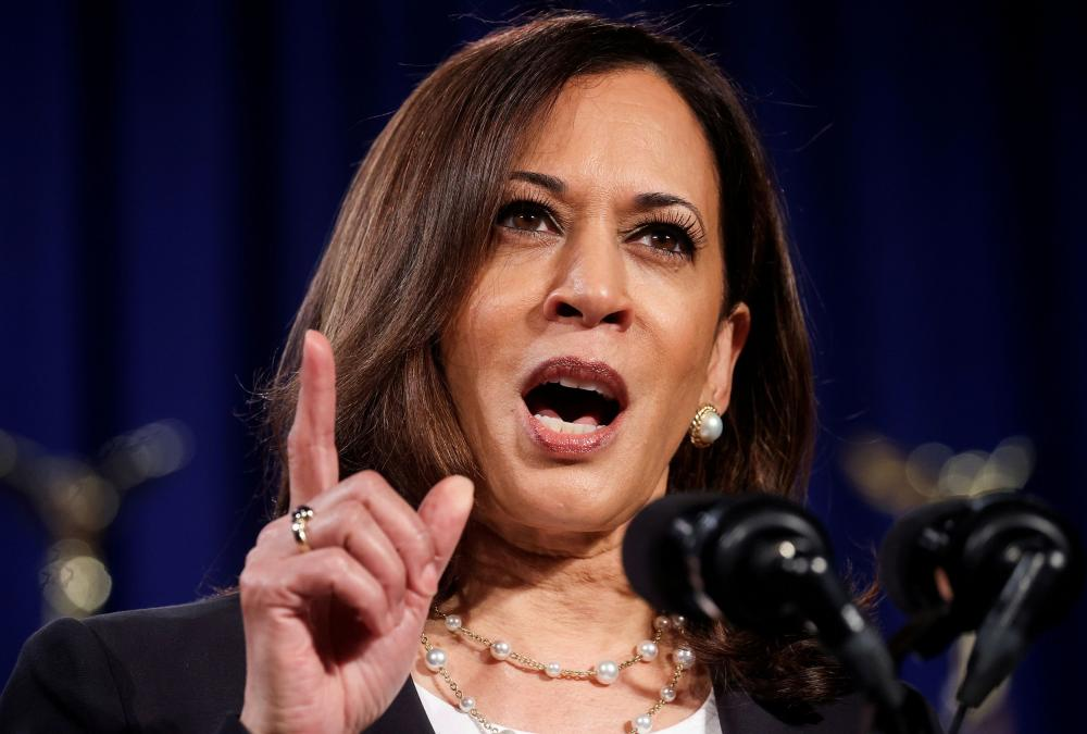 Democratic US vice presidential nominee Kamala Harris during a campaign speech in Washington on 27 August 2020.