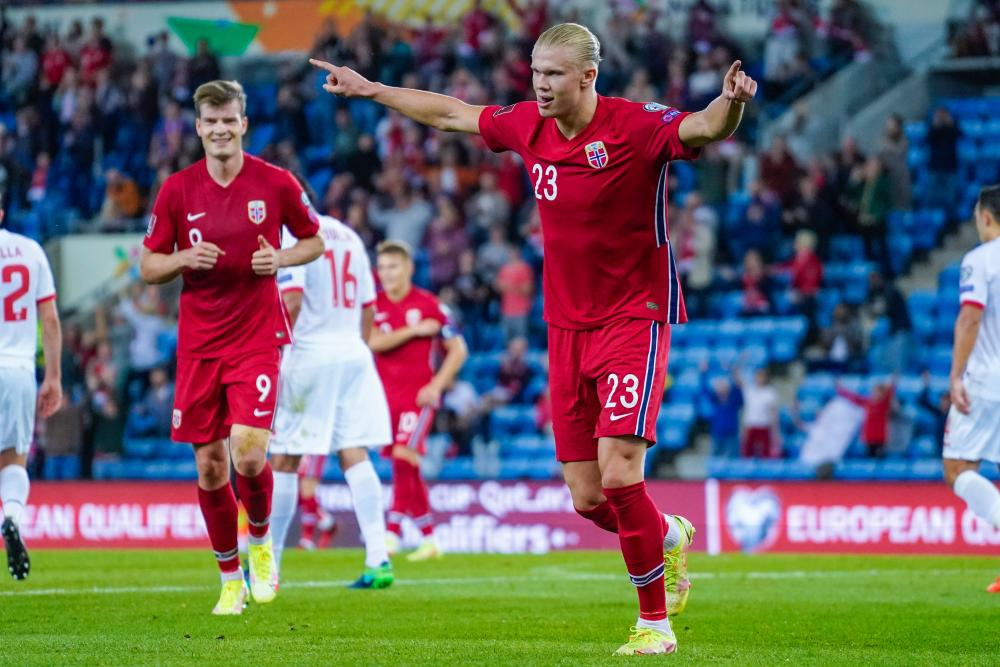 Erling Braut Haaland of Norway reacts after making it 3-0.