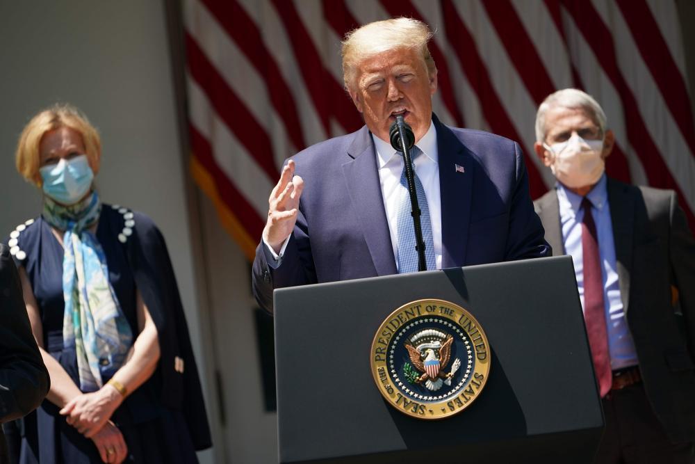 Deborah Birx, Donald Trump, Anthony Fauci.
