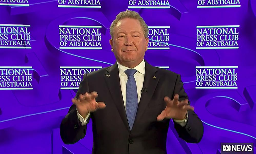 Fortescue chairman Andrew Forrest addresses the National Press Club