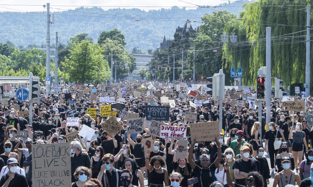 People demonstrate against racism in Zurich, Switzerland, on 13 June 2020. EPA/ENNIO LEANZA