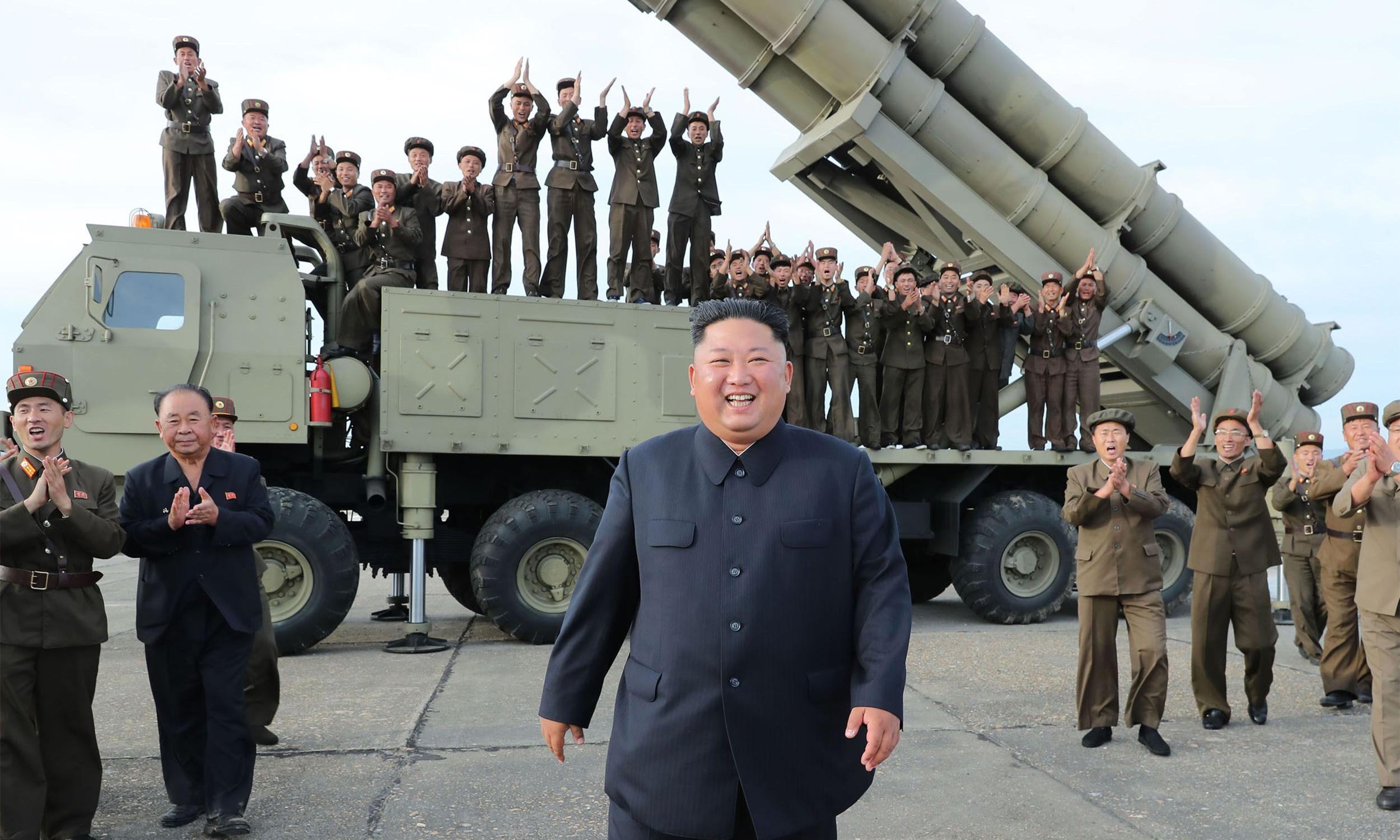 North Korea's Kim Jong-un oversaw test of 'super large multiple rocket launcher'
