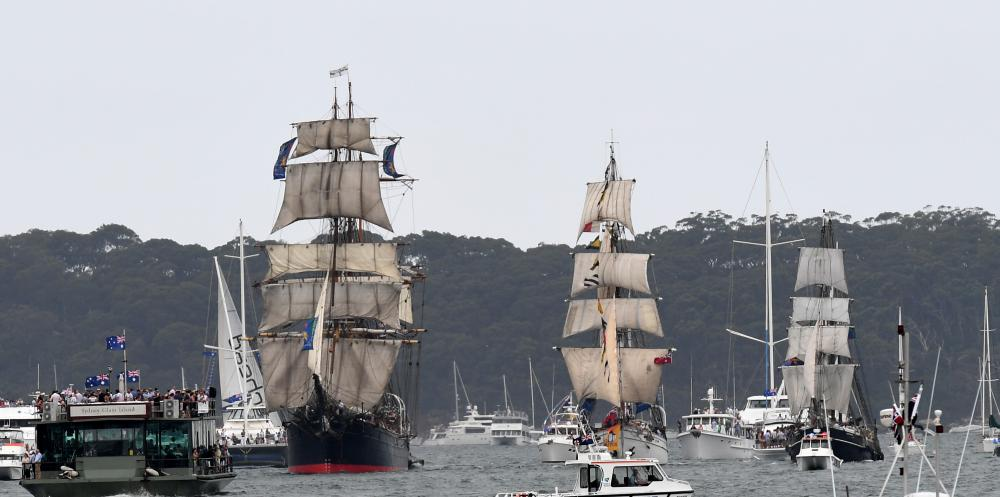 Image of tall ships.
