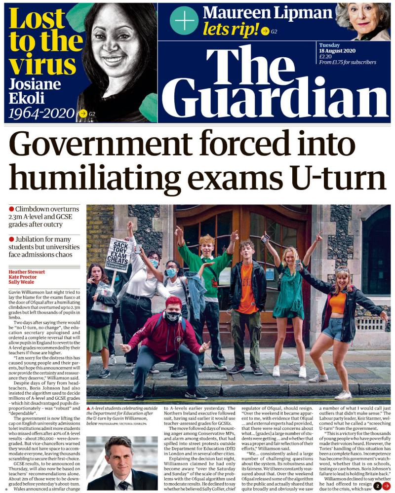 The Guardian's front page for Tuesday 18 August.