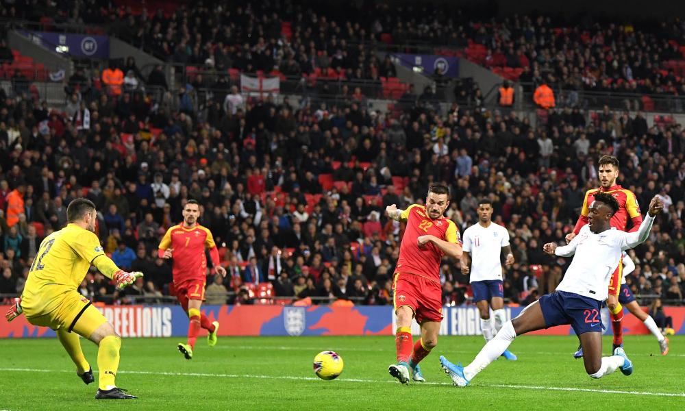 Tammy Abraham of England scores his sides seventh goal.